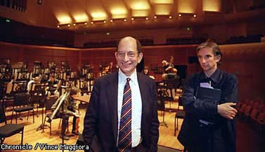 = Left Peter Pestreich SF symphony executive director announces his resignation to the symphony members Michael Tilson Thomas next to him in Davis symphony hall. by Vince Maggiora Photo: VINCE MAGGIORA