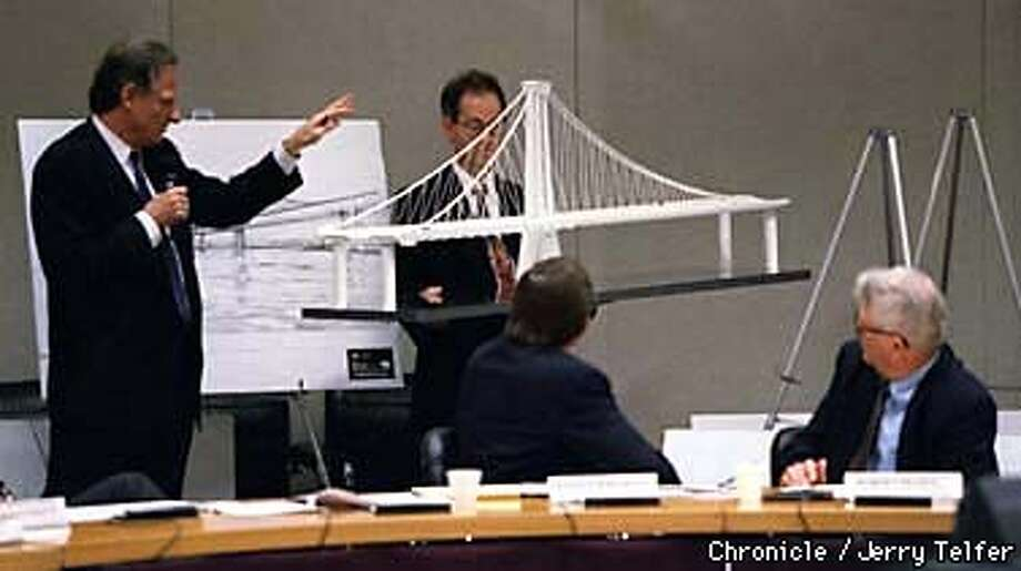 BAYBRIDGE/C/02MAR98/CD/JLT Metropolitan Transportation Commision members (seated) follow a presentation of one variant of proposed designs for a new SF-Oakland Bay Bridge. Two main design concepts were presented; a self-anchored suspension design (this one) and a cable stay design. Each design had several variations. 101 8th Street, Oakland, CA PHOTO BY JERRY TELFER Photo: JERRY TELFER