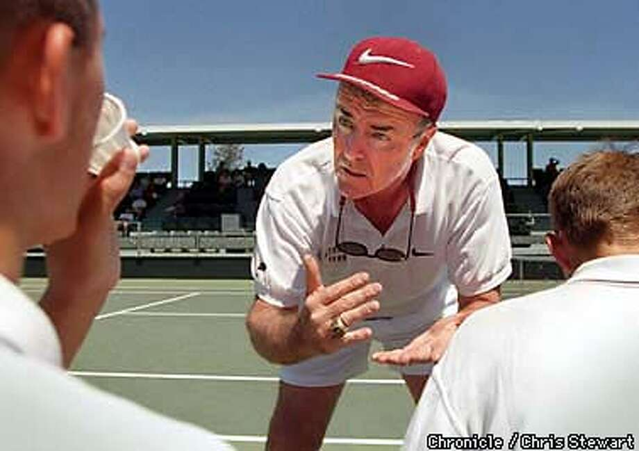 Stanford men's tennis coach Dick Gould talks to his players during a match between Stanford and Cal at the refurbished tennis facility at Stanford University. SAN FRANCISCO CHRONICLE PHOTO BY CHRIS STEWART Photo: CHRIS STEWART