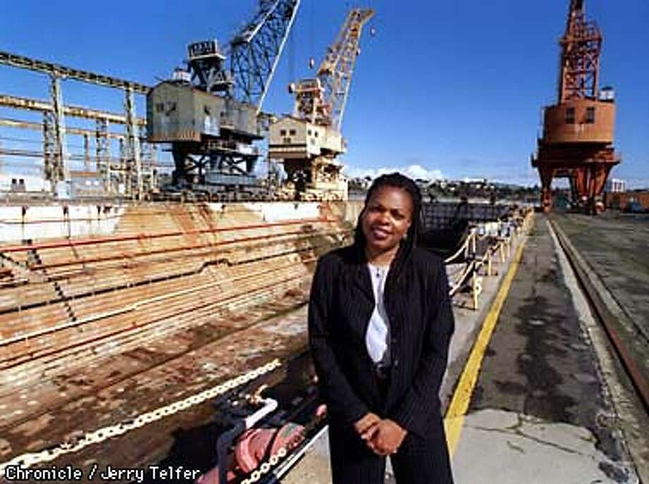SPHERE/C/09FEB98/DD/JLT Annette Taylor coordinates the city of Vallejo's efforts to lure filmmakers to Mare Island, using either large buildings there for sound stages or some of the shipyard facilities, like this drydock. PHOTO BY JERRY TELFER Photo: JERRY TELFER