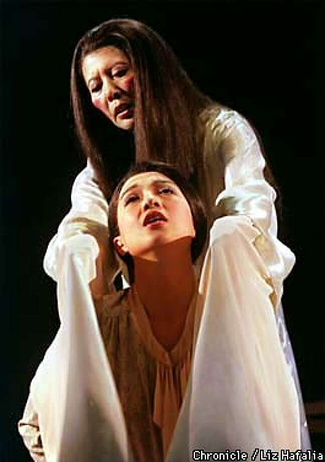 'Golden Child' dress rehearsal at A.C.T. Ming-Na Wen (top) plays the third wife and Tsai Chin (front) plays the first wife. Photo by Liz Hafalia Photo: LIz Hafalia