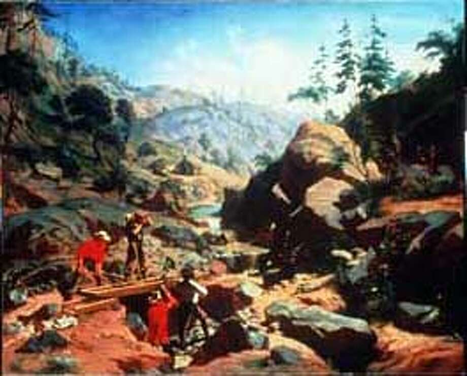 GOLD2/C/21JAN98/DD/HO  CHARLES CHRISTIAN NAHL AND FREDERICK AUGUST WENDEROTH  MINERS IN THE SIERRA, 1851, OIL ON CANVAS ART OF THE GOLD RUSH  OAKLAND MUSEUM OF CALIFORNIA