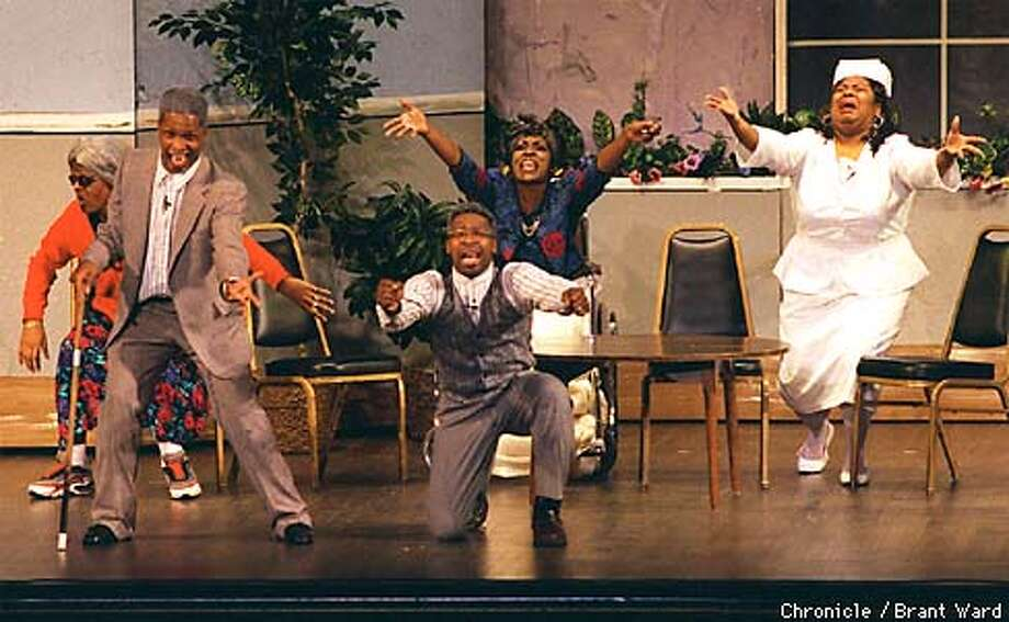 "This is scene one, The New Life Retirement Home, from a performance of ""Ain't No Woman Like the One I Got"" at the Paramount Theatre in Oakland. front from left: Roderick Pate as Deacon Harry, Earl Vernon as Ron Jasper; back from left: Kim Williams as Miss Hattie, Cathy Beverly as Miss Ruth and Samantha McSwain as Donna. BY BRANT WARD/THE CHRONICLE Photo: BRANT WARD"