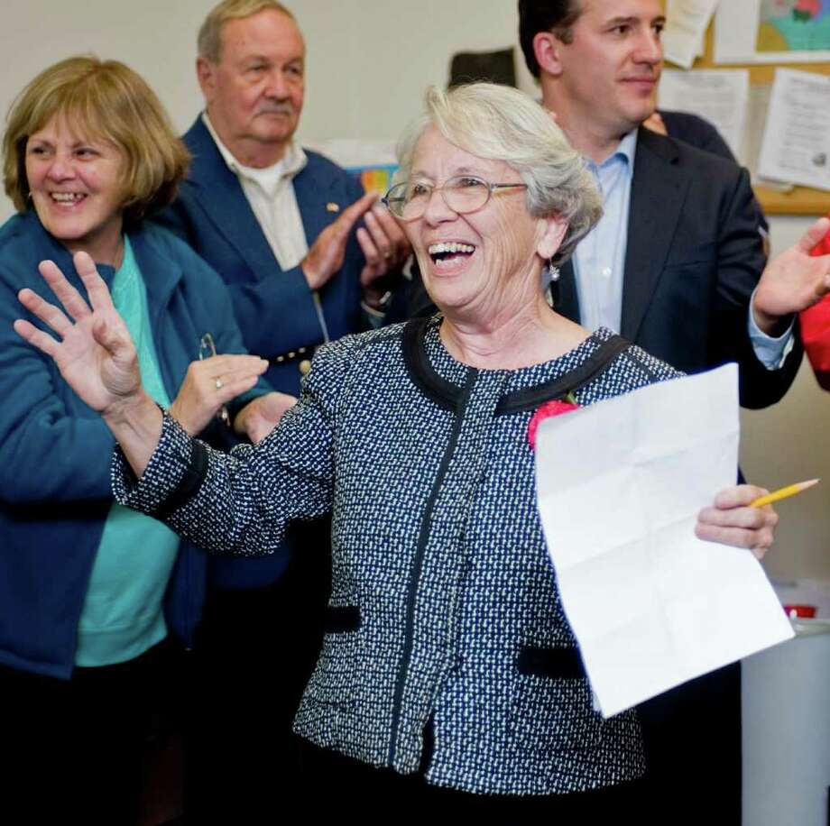 Former Democratic mayoral candidate Lynn Taborsak is met with applause from her supporters last November after losing to Republican incumbent Mark Boughton. Photo: Scott Mullin / The News-Times Freelance