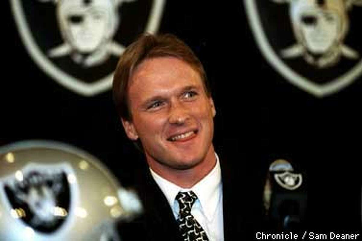 Jon Gruden is named Oakland Raiders new Head Coach at a press conference Tuesday in Alameda. (CHRONICLE PHOTO BY SAM DEANER)