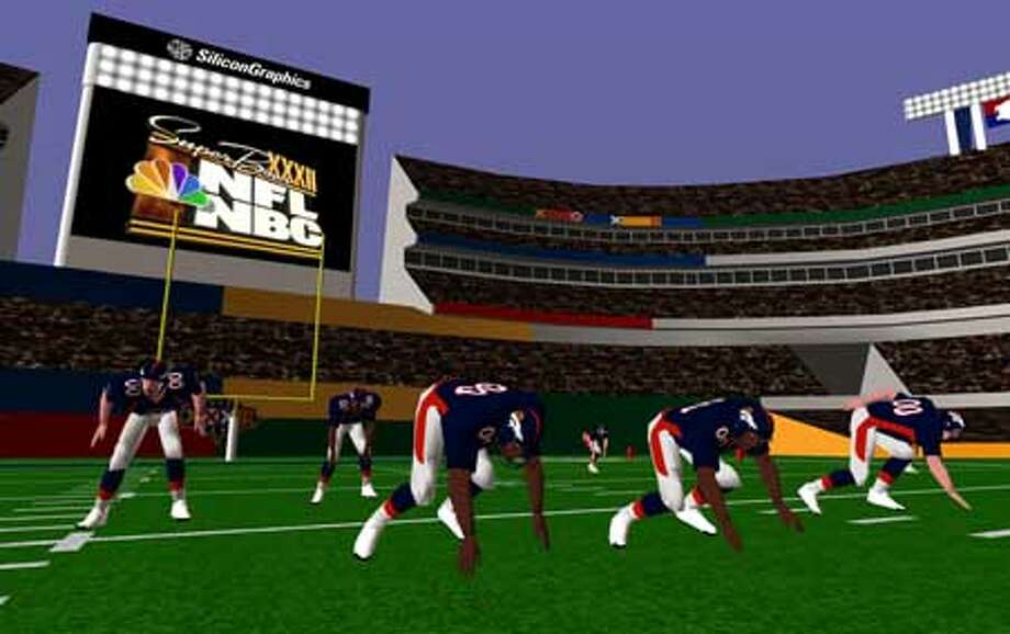 NBC will use computer animation, like this view of the Denver defense as seen from the Green Bay side of the ball, to show trends in the Super Bowl.