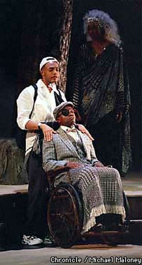 Gregory Wallace (lt) L. Peter Callendar (seated)  Velina Brown (in shadows)  Characters in Insurrection, playing soon at the Geary Theater  Photo by Michael Maloney Photo: MICHAEL MALONEY