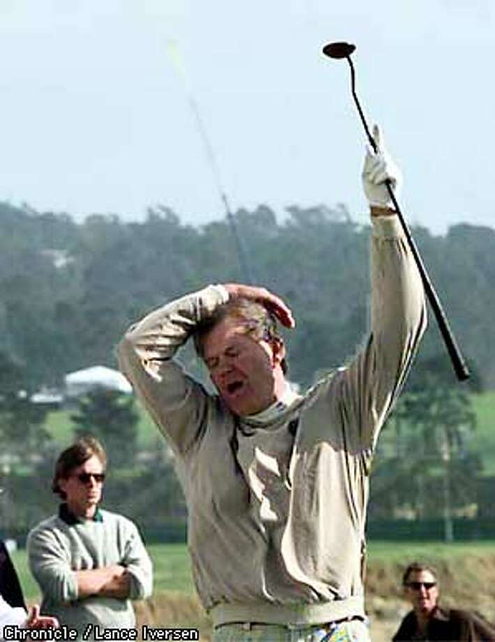 AT&T CAMPBELL/C/28JAN98/SP/LI  Glenn Campbell reacts to a missed birdie attempt by Tommy Smothers on the 18th green at Pebble Beach during the annual Celebrity Challenge. By Lance Iversen/San Francisco Chronicle Photo: LANCE IVERSEN
