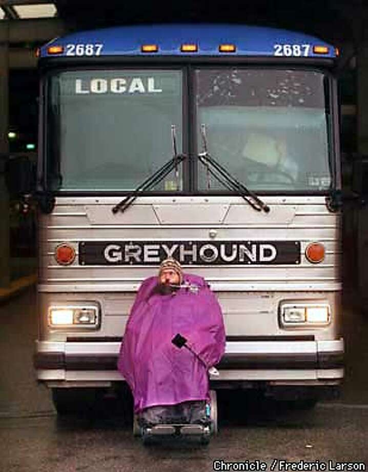 GREYHOUND/C/15JAN98/MN/FRL: Balne Beckwith from Berkeley was one of a group of disable protester that stopped Greyhound buses from moving out of the Transbay Terminal in SF. CHP arrested five protester for not moving, as they stood firm on their demands over handicap inaccessibility to Greyhound buses. Chronicle photo by Frederic Larson.