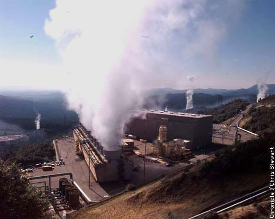 Water vapor is expelled from the cooling towers of several geothermal facilities in the Mayacamas Mountains of Lake County. Power producers use geothermal super heated steam to spin turbine-generators and create electricity. Many power generating companies have built plants in the area known as The Geyers to take advantage of this natural boiler. It is the largest complex of geothermal generating plants in the world. The Sante Fe Geothermal Facility is in foreground. Calpine's West Ford Flat plant is at left. SAN FRANCISCO CHRONICLE PHOTO BY CHRIS STEWART Photo: CHRIS STEWART