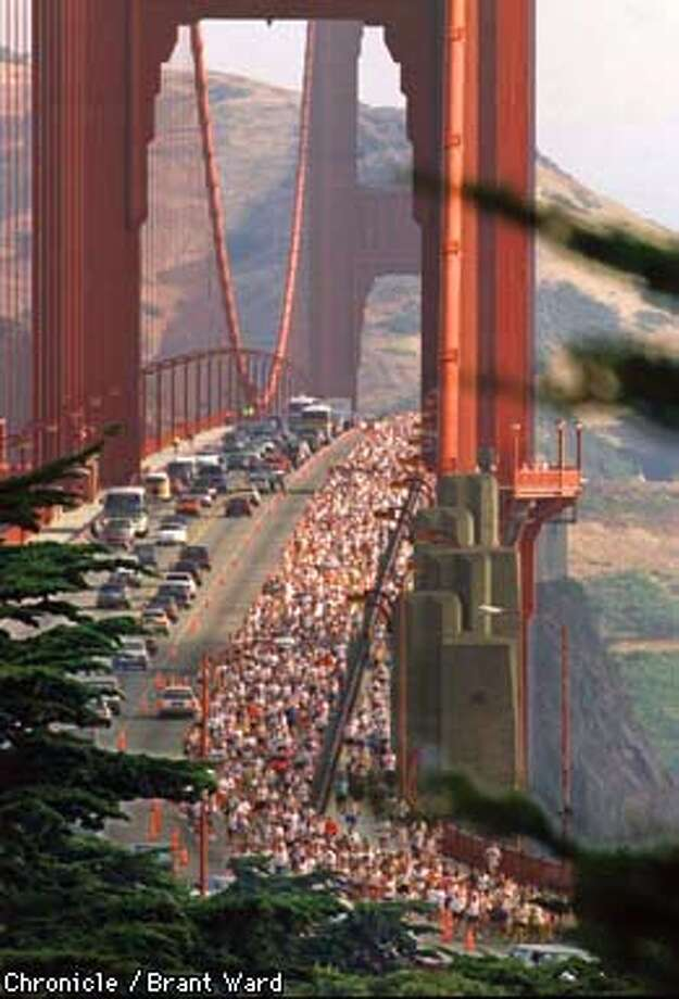 San Francisco Marathon. Thousands of runners in the San Francisco Marathon began the run,, crossing the Golden Gate Bridge into San Francisco Photo: BRANT WARD