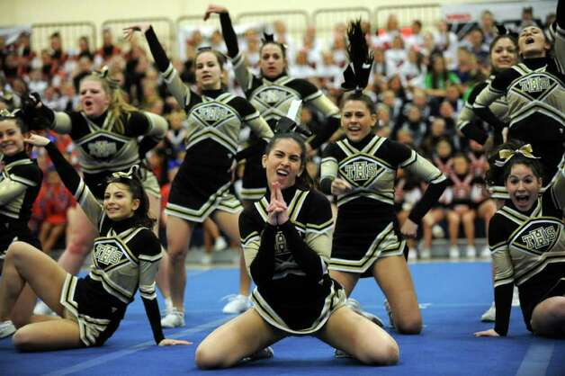 Scenes from the FCIAC Cheerleading championships Saturday, Feb. 4, 2012 at Wilton High School. Photo: Autumn Driscoll / Connecticut Post