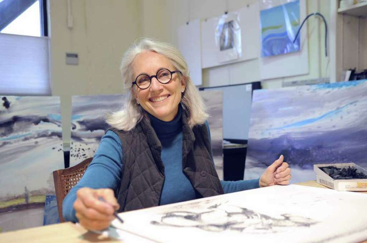 """Greenwich artist Marian """"Bing"""" Bingham poses in her studio Thursday, Jan. 19, 2012. She is awaiting the return of several of her paintings, which were seized a few months ago along the Serbian border en route to a European exhibition."""
