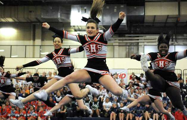 Stamford High School cheerleaders perform during the FCIAC Cheerleading championships at Wilton High School on Saturday, February 4, 2012. Photo: Lindsay Niegelberg / Stamford Advocate