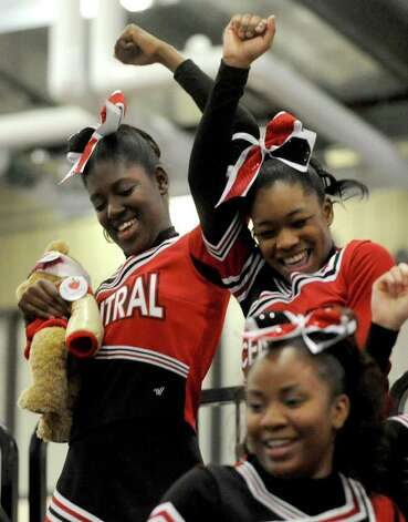 Bridgeport Central cheercleaders dance during intermission during FCIAC Cheerleading championships at Wilton High School on Saturday, February 4, 2012. Photo: Lindsay Niegelberg / Stamford Advocate