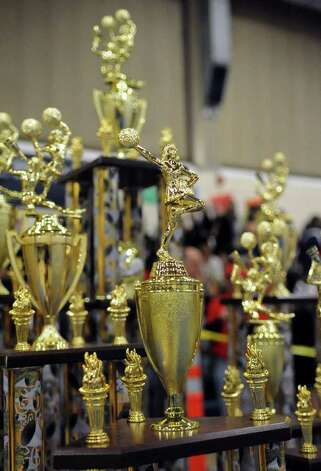 FCIAC Cheerleading championships at Wilton High School on Saturday, February 4, 2012. Photo: Lindsay Niegelberg / Stamford Advocate