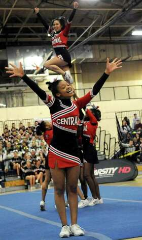 Bridgeport Central cheerleaders perform during the FCIAC Cheerleading championships at Wilton High School on Saturday, February 4, 2012. Photo: Lindsay Niegelberg / Stamford Advocate