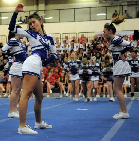 Fairfield Ludlowe High School cheerleaders perform during the FCIAC Cheerleading championships at Wilton High School on Saturday, February 4, 2012. Photo: Lindsay Niegelberg / Stamford Advocate