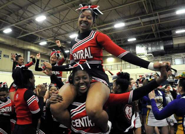 Bridgeport Central cheerleaders dance during an intermission at the FCIAC Cheerleading championships at Wilton High School on Saturday, February 4, 2012. Photo: Lindsay Niegelberg / Stamford Advocate