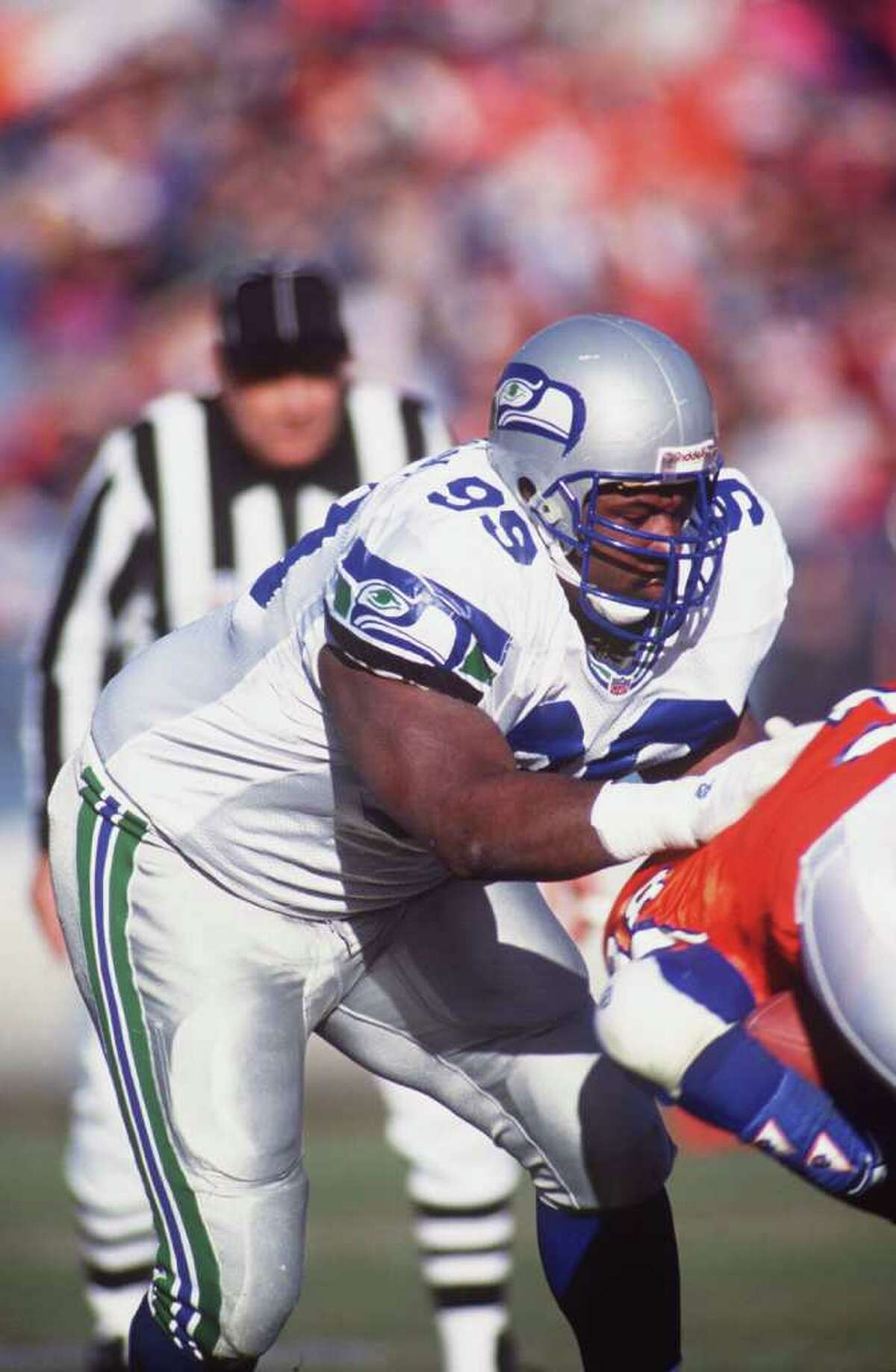 Seattle defensive tackle Cortez Kennedy tackles a Denver ball carrier during the Seahawks' 10-6 loss to the Broncos at Mile High Stadium in Denver on Dec. 20, 1992.