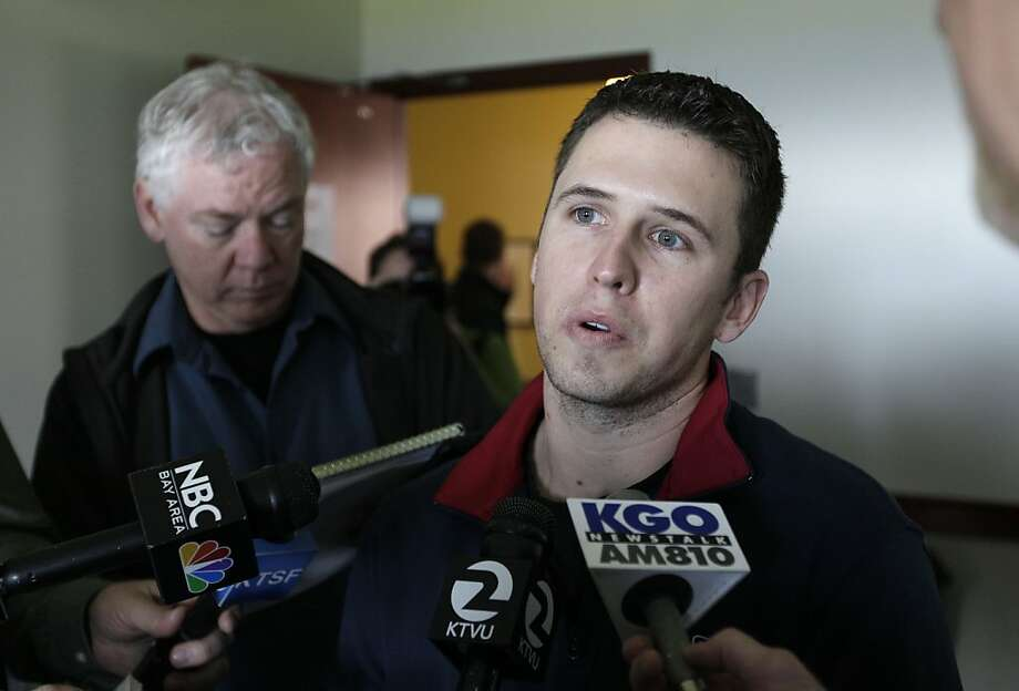 San Francisco Giants catcher Buster Posey talks about his off season during a baseball media availability at AT&T Park in San Francisco, Friday, Feb. 3, 2012. (AP Photo/Eric Risberg) Photo: Eric Risberg, Associated Press