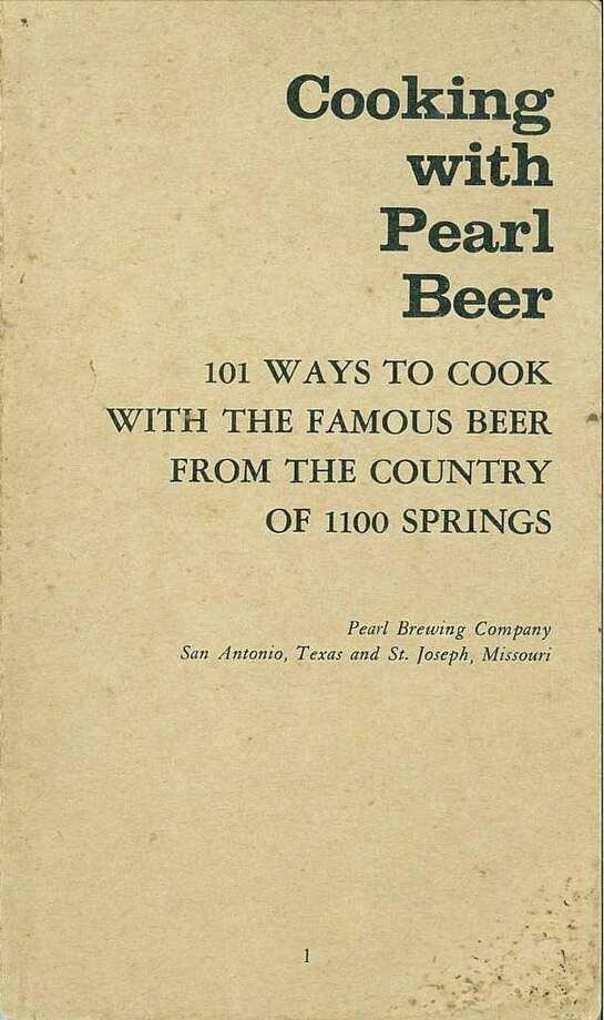 """This courtesy image from Charlie Staats show the cover of the cook book """"Cooking with Pearl Beer""""."""