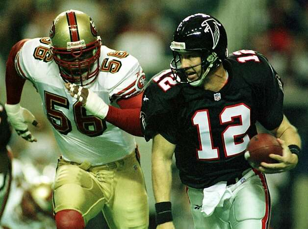 Chris Doleman (left), a late- career 49er, made the cut.      Chris Doleman (left), a late- career 49er, made the cut.      49ERS-DOLEMAN/C/09JAN99/SP/MJM Atlanta QB Chris Chandler flees from Chris Doleman in the 1st quarter. The 49ers lost to Atlanta 20-18 at the Georgia Dome. CHRONICLE PHOTO BY MICHAEL MALONEY--- Sent 02/04/12 18:46:06 as nflhof05_PH2 with caption: Photo: Michael Maloney, CHRONICLE
