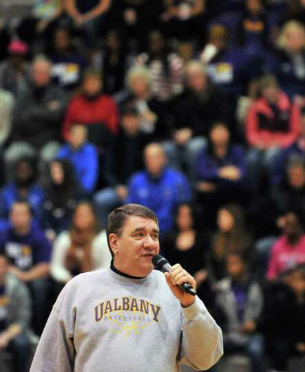UAlbany president George M. Philip welcomes a homecoming crowd to Saturday's game at SEFCU Arena in