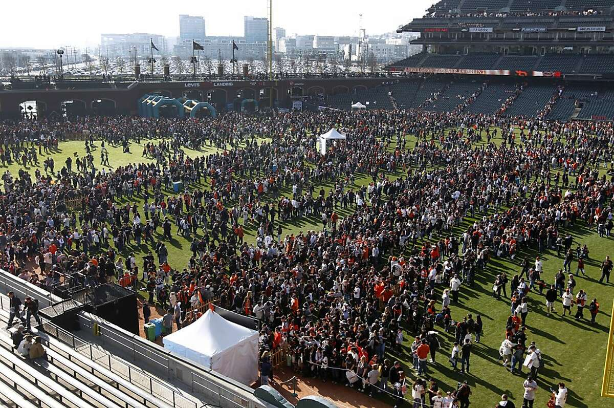 Tens of thousands of Giants fans crowd into AT&T Park for the annual FanFest event in San Francisco, Calif. on Saturday, Feb. 4, 2012.