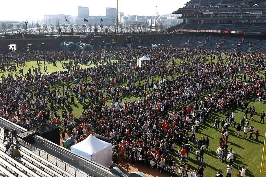 Tens of thousands of Giants fans crowd into AT&T Park for the annual FanFest event in San Francisco, Calif. on Saturday, Feb. 4, 2012. Photo: Paul Chinn, The Chronicle