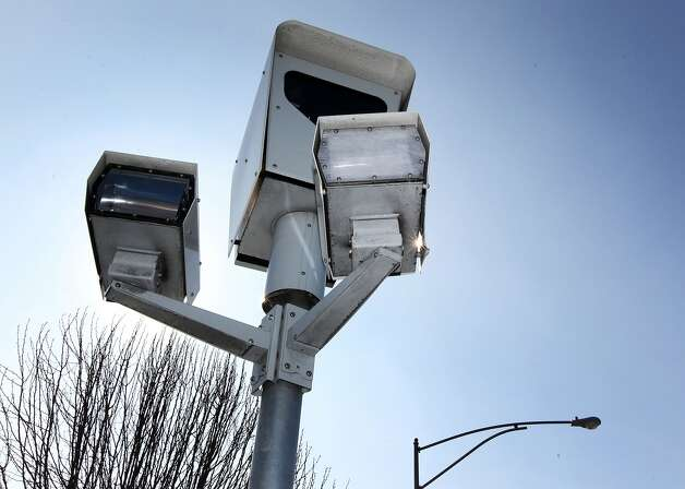 A red light camera at the corners of Mowry Ave and Fremont Blvd in Fremont California is aimed at east bound traffic on Mowry Saturday, February 4, 2012. Photo: Lance Iversen, The Chronicle