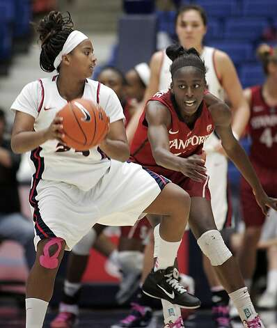 Arizona's Reiko Thomas (25) look to pass against the pressing defense of Stanford's Chiney Ogwumike, right, during the second half of an NCAA college basketball game at McKale Center in Tucson, Ariz., Saturday, Feb. 4, 2012. Stanford won 91-51. Photo: John Miller, Associated Press