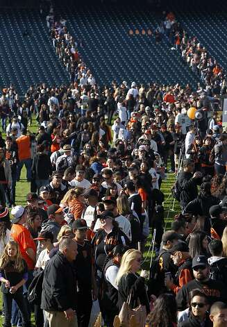 Baseball fans wait in line for autographs at the annual Giants FanFest at AT&T Park in San Francisco, Calif. on Saturday, Feb. 4, 2012. Photo: Paul Chinn, The Chronicle