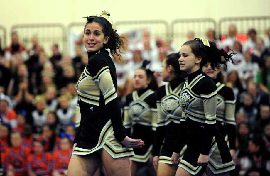 Scenes from the FCIAC Cheerleading championships Saturday, Feb. 4, 2012 at Wilton High School. Photo: Autumn Driscoll / Connecticut Post