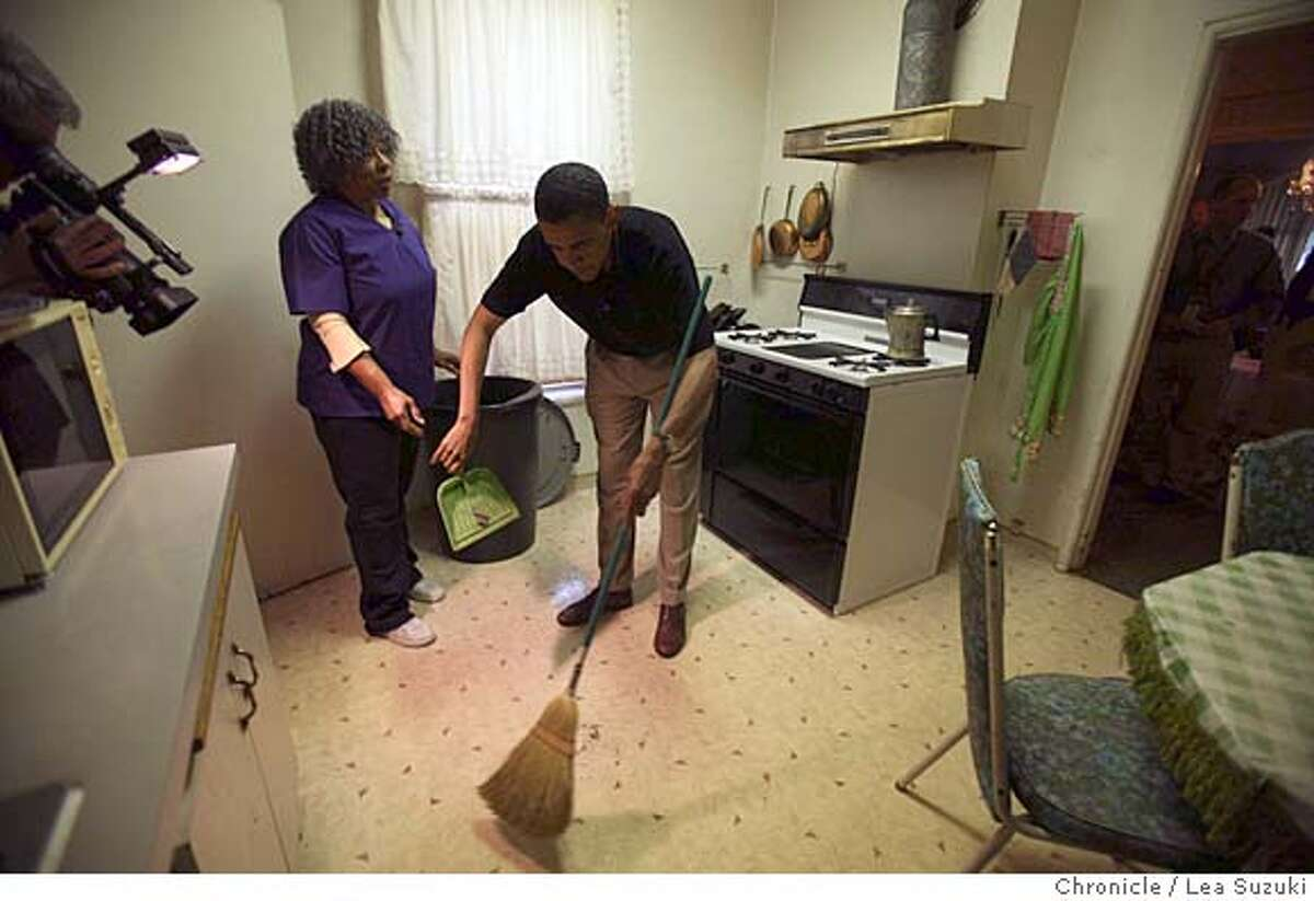 obama08_0194_ls.JPG Pauline Beck (left) hands Barack Obama (right) a dustpan while he spends the morning working with Pauline Beck at the home of John Thornton as part of the Walk a Day in My Shoes program. Senator Barack Obama spends the morning with Pauline Beck, a home health care worker, first meeting her at her home in Alameda and then going to her work where she cares for John Thornton in Oakland as part of the Walk a Day in My Shoes program. Photo taken on 080807 in Oakland, CA. Photo by Lea Suzuki/ The Chronicle (Nadia Conners, Leila Conners Petersen)cq Ran on: 08-09-2007 Sen. Barack Obama (left) puts sugar on cereal for John Thorn- ton during his morning with home health care worker Pauline Beck (center), part of a unions effort to have presidential candidates walk a day in the shoes of workers. Ran on: 08-09-2007 Sen. Barack Obama (left) puts sugar on cereal for John Thorn- ton during his morning with home health care worker Pauline Beck (center), part of a unions effort to have presidential candidates walk a day in the shoes of workers.