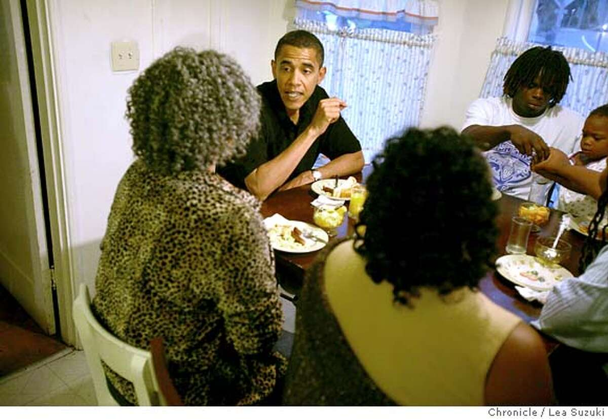 Second from left: Barack Obama talks with (left) Pauline Beck while eating breakfast at her home before heading out to spend the morning working with her at the home of John Thornton in Oakland. Senator Barack Obama spends the morning with Pauline Beck, a home health care worker, first meeting her at her home in Alameda and then going to her work where she cares for John Thornton in Oakland as part of the Walk a Day in My Shoes program. Photo taken on 080807 in Alameda, CA. Photo by Lea Suzuki/ The Chronicle (Nadia Conners, Leila Conners Petersen)cq
