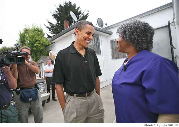 Barack Obama shares a laugh with Pauline Beck before entering the home of John Thornton while spending the morning with Pauline Beck at the home of John Thornton as part of the Walk a Day in My Shoes program. Senator Barack Obama spends the morning with Pauline Beck, a home health care worker, first meeting her at her home in Alameda and then going to her work where she cares for John Thornton in Oakland as part of the Walk a Day in My Shoes program. Photo taken on 080807 in Oakland, CA.  Photo by Lea Suzuki/ The Chronicle  (Nadia Conners, Leila Conners Petersen)cq Photo: Lea Suzuki