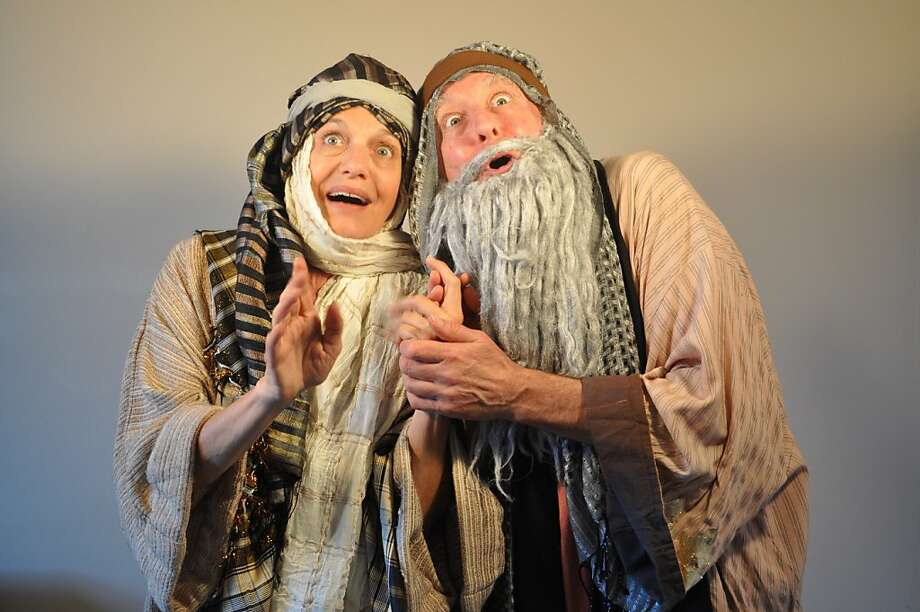 """Laura Jorgensen (left) and Fred Curchack perform """"Burying Our Father: A Biblical Debacle"""" at Cinnabar Theater Photo: Rye Jorgensen"""