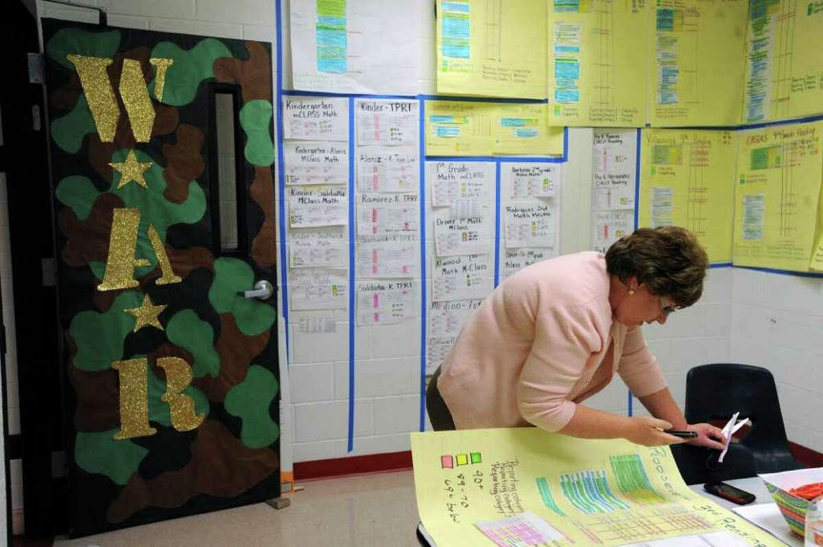 Roosevelt Elementary School principal Pamela Reece works in the school's War Room on Tuesday, Jan. 17, 2012. BILLY CALZADA / San Antonio Express-News