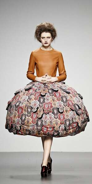 A model displays an Autumn/Winter design by Leandro Cano during the Ego for young designers of the M