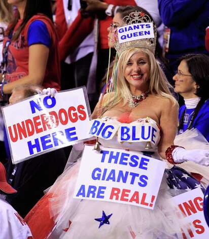INDIANAPOLIS, IN - FEBRUARY 05:  A fan of the New York Giants cheers against the New England Patriots during Super Bowl XLVI at Lucas Oil Stadium on February 5, 2012 in Indianapolis, Indiana. Photo: Chris Trotman, Getty Images / 2012 Getty Images