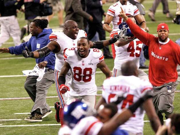 Wide receiver Hakeem Nicks (88) of the New York Giants celebrates the team's victory against the New England Patriots during Superbowl XLVI on Sunday, February 5, 2012, at Lucas Oil Stadium in Indianapolis, Indiana. The Giants defeated the Patriots, 21-17. (Terry Gilliam/MCT) Photo: TERRY GILLIAM, McClatchy-Tribune News Service / MCT
