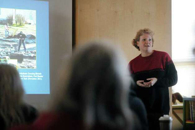New York State archaeologist Christina Rieth gives a talk on the impact of Tropical Storm Irene on Schoharie Valley?s archaeological history at the Thacher Nature Center on Sunday, Feb. 5, 2012 in Voorheesville, NY.  (Paul Buckowski / Times Union) Photo: Paul Buckowski