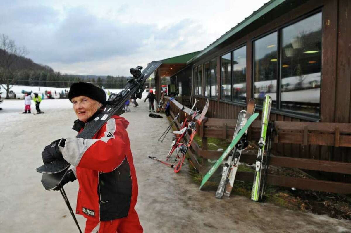 Schenectady Ski School instructor Freddie Anderson, 91, who has been skiing since she was 3 years old, skis at Maple Ski Ridge on Wednesday Feb. 1, 2012 in Rotterdam, NY. She recalls riding the original Snow Train to North Creek in the 1930s and is riding it once again now that it has made a return. (Philip Kamrass / Times Union )