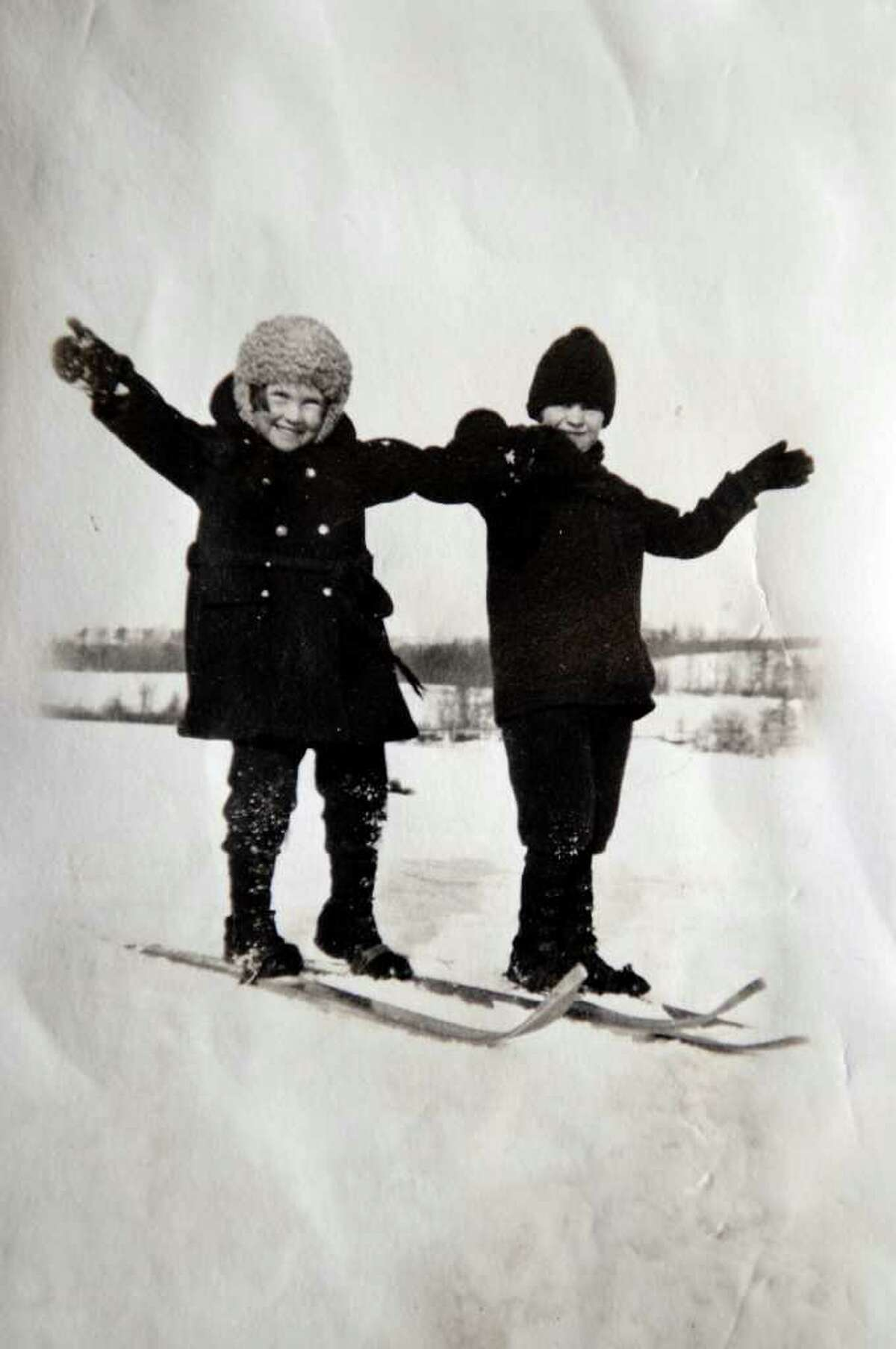 Schenectady Ski School instructor Freddie Anderson in a photograph of herself at age 6 in 1927, left, with her friend Jean Streiberat the Mohawk Golf Club. Anderson has been skiing since she was 3 years old. (Photograph provided courtesy of Freddie Anderson to the Times Union )