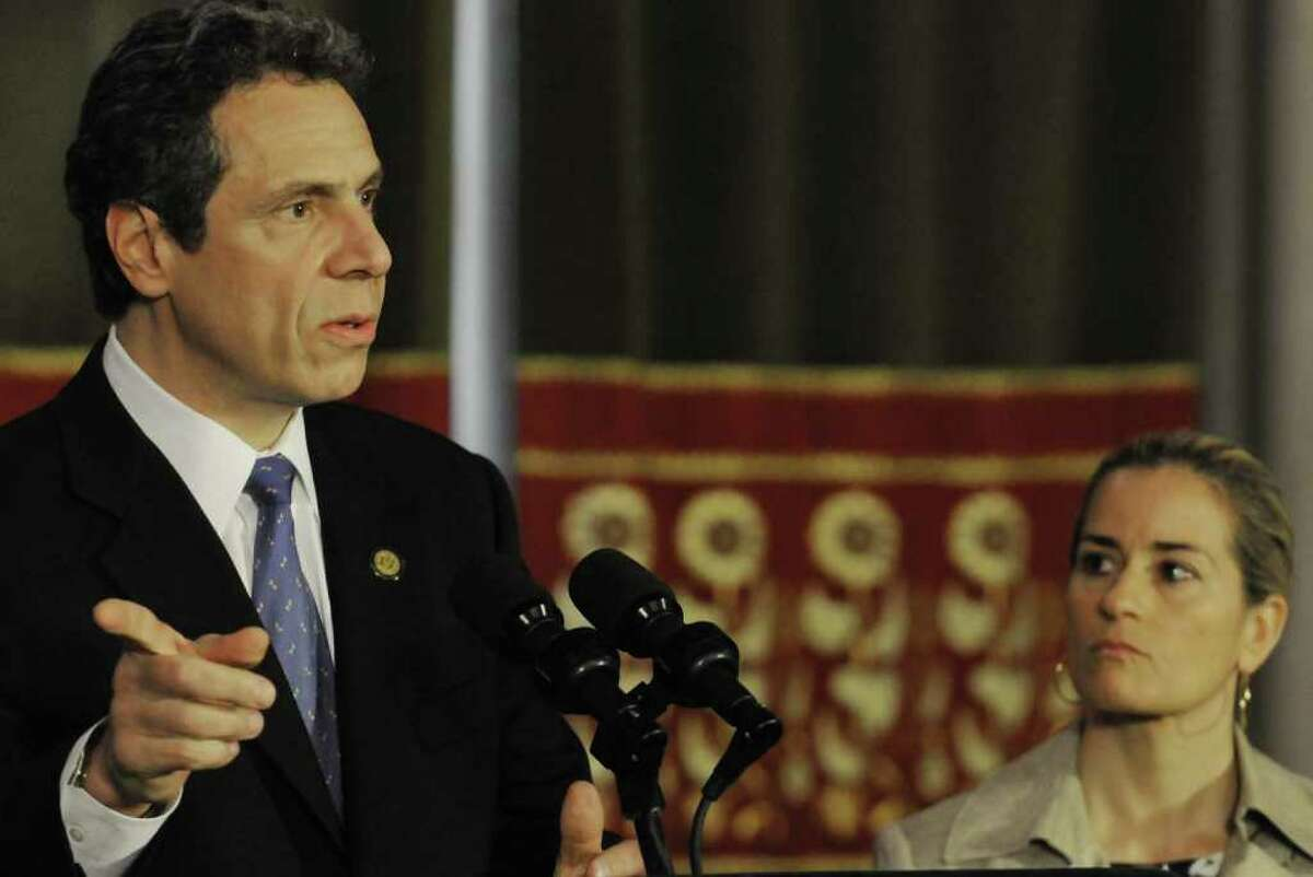 Governor Andrew M. Cuomo and New York State Inspector General Ellen Biben announce a decision to audit the Long Island Power Authority during a press conference in the red room at the Capitol in Albany, NY Wednesday April 27, 2011.( Michael P. Farrell/Times Union )
