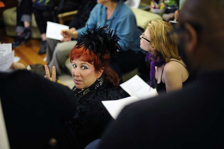 "Annie Sprinkle gestures to her partner Beth Stephens(not pictured).  ""Occupy Bernal"" held a meeting to discuss the groups long term strategies in Bernal Heights, San Francisco, CA Thursday Feb. 2nd, 2012 Photo: Michael Short, SPECIAL TO THE CHRONICLE"
