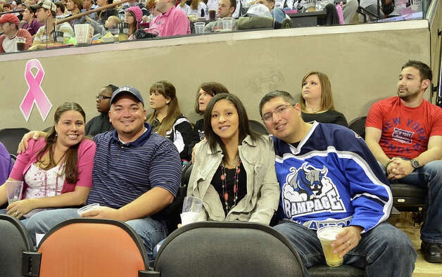 The San Antonio Rampage held its annual Pink in the Rink fundraiser for the Susan G. Komen foundation Friday night. Photo: Robin Johnson