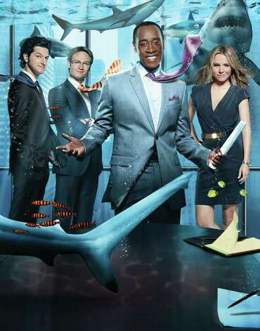 "Ben Schwartz (from left), Josh Lawson, Don Cheadle and and Kristen Bell star in ""House of Lies"" on Showtime. Photo: Showtime / Copyright: Showtime 2011"