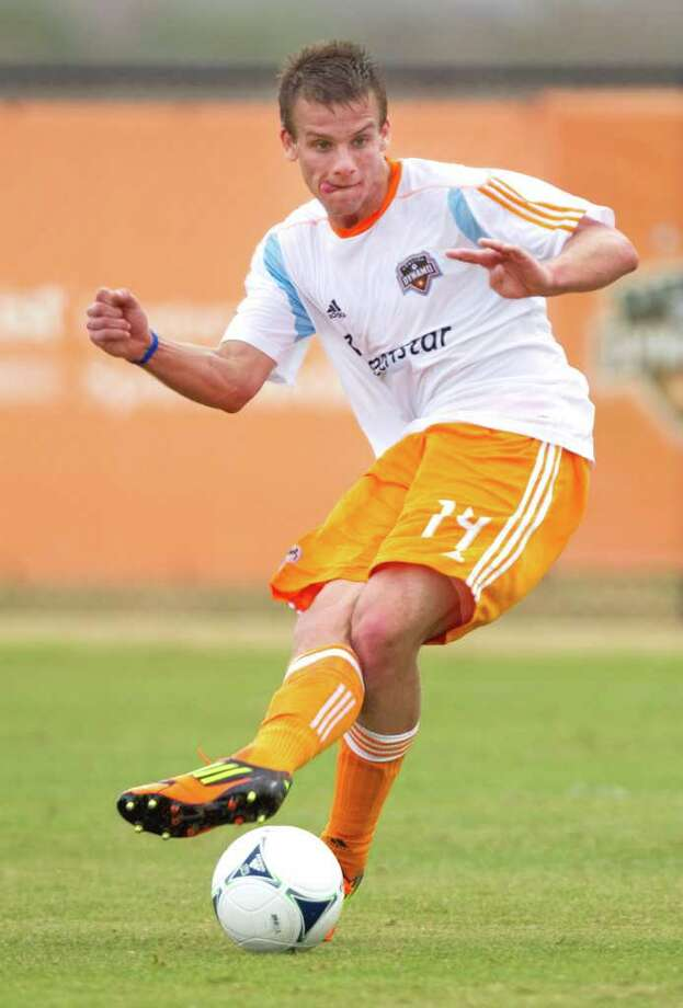 Rookie forward Colin Rolfe has looked comfortable in the first two weeks of Dynamo preseason camp. Photo: Brett Coomer / © 2012 Houston Chronicle